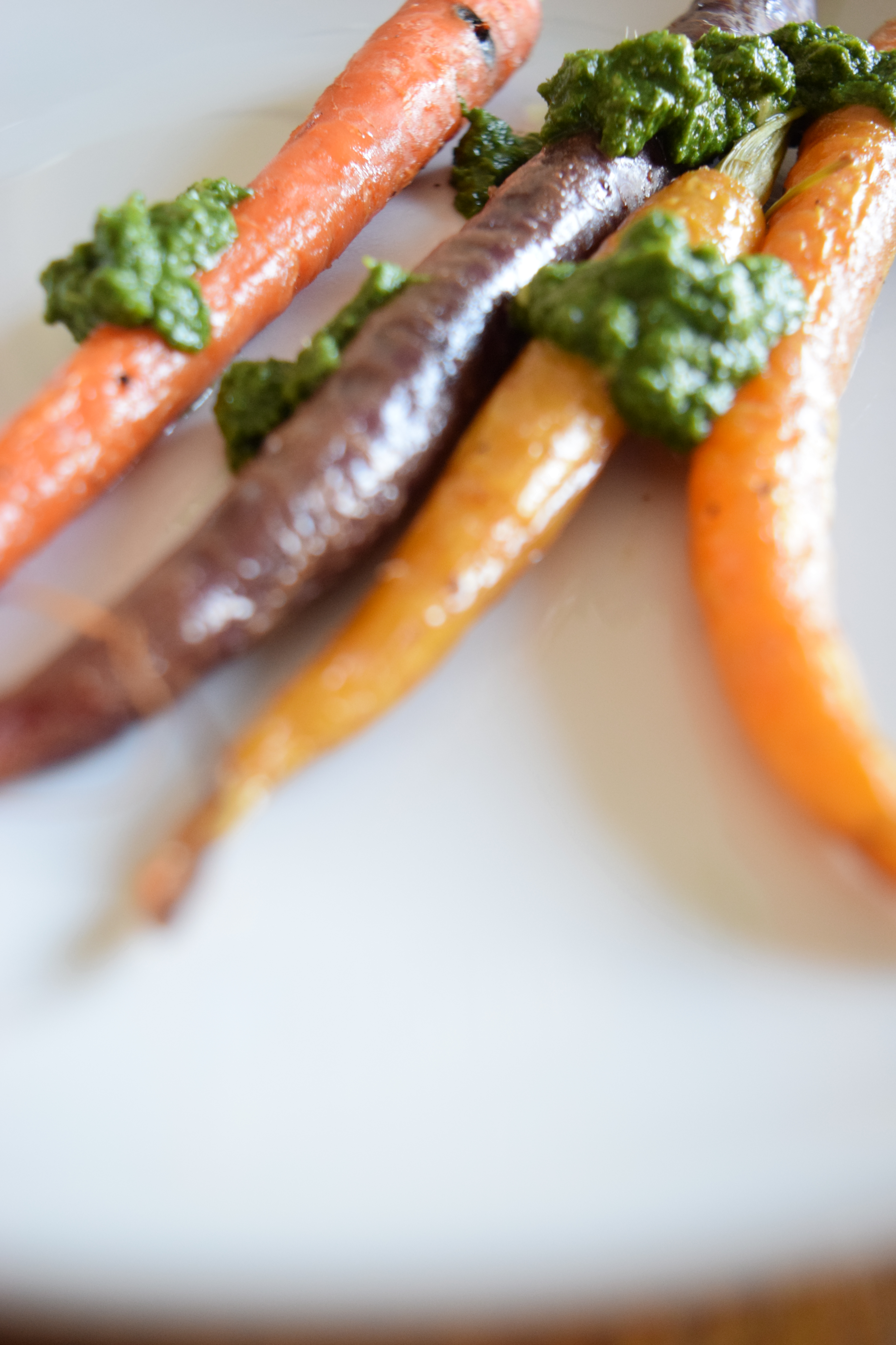 Blistered Rainbow Carrots With Carrot Top Pesto Craving4more